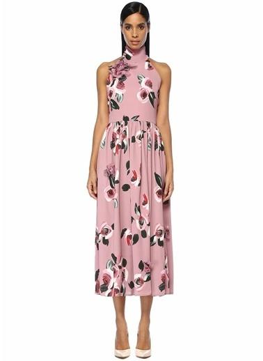 Beymen Collection Dik Yaka Çiçekli Sırt Detaylı Maksi Elbise Pembe